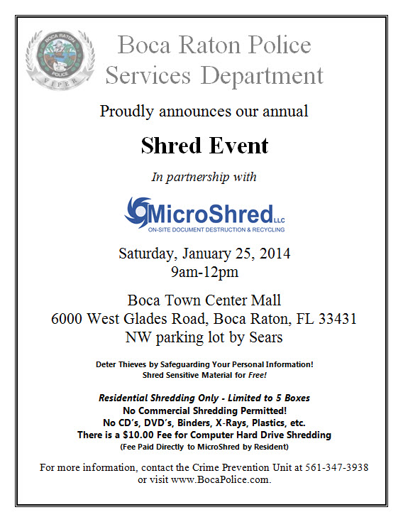 Boca Raton Shred Event 1-25-14